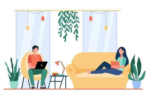 Happy couple resting on sofa and in armchair in living room, reading book, watching movie on laptop. Free Vector