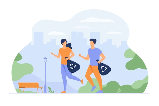 Happy couple running and carrying trash bags with recycling signs. young people picking up litter while jogging. for plogging, eco friendly society, green sport activity concept Free Vector
