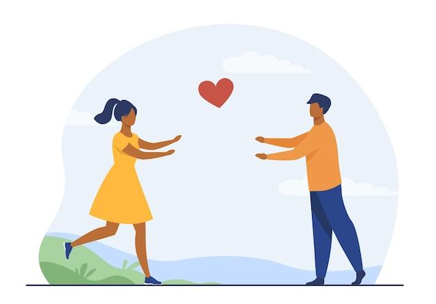 서로 실행하는 행복 한 커플. 사랑, 여자 친구, 심장 평면 그림. 만화 그림 무료 벡터