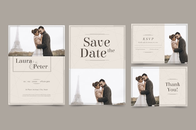 Happy couple save the date invitation Free Vector