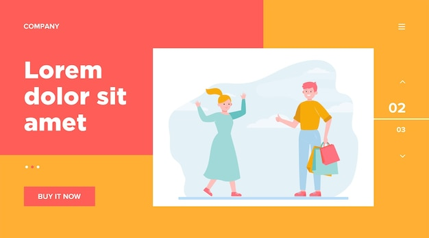 Happy couple shopping together. support, bag, choosing flat vector illustration. . relationship and family concept website design or landing web page Free Vector