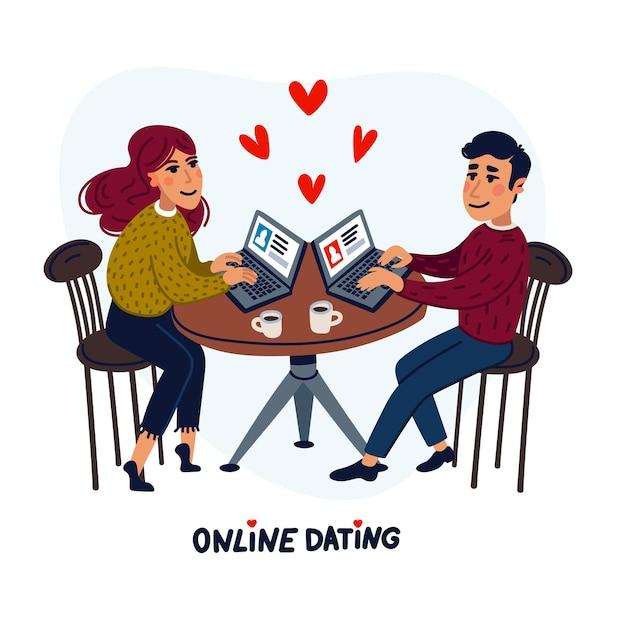 ノートパソコンとカフェに座って幸せなカップル Premiumベクター