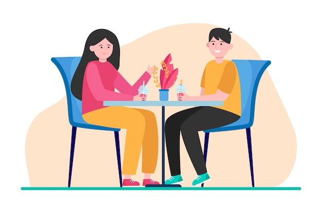カフェに座って、バブルティーを飲んで幸せなカップル 無料ベクター