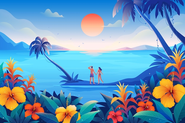 Happy couple spending their summer in tropical places Premium Vector