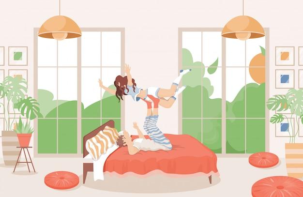 Premium Vector Happy Couple Spending Time Together In Bed Flat Illustration Modern Bedroom Interior Design