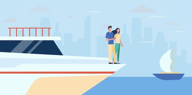 Happy couple standing on edge of yacht. sea, cityscape, wealth flat  illustration. cartoon illustration Free Vector