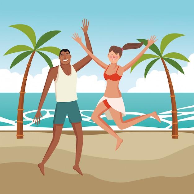 Happy couple in summer cartoons Free Vector