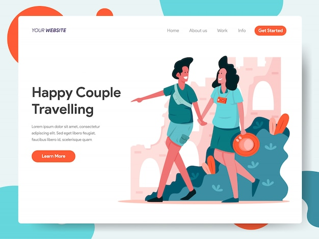 Happy couple travelling banner for landing page Premium Vector