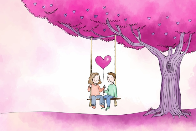 Happy couple under tree valentine background Free Vector