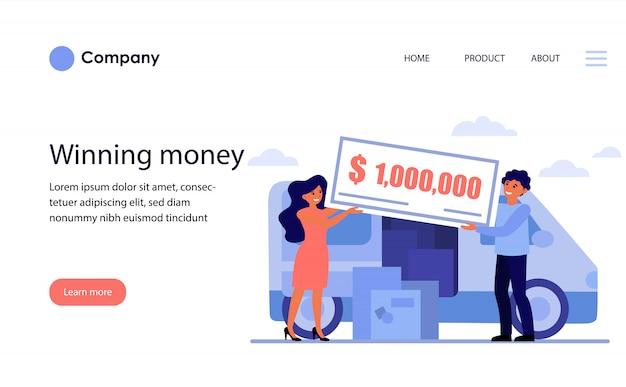 돈 상금을 수상하는 행복 한 커플. 웹 사이트 템플릿 또는 방문 페이지 무료 벡터