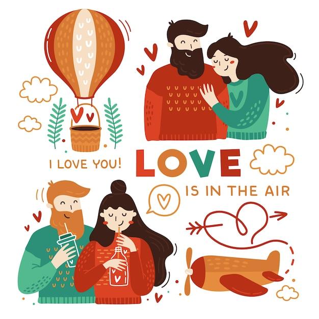 Happy couples and love elements Premium Vector