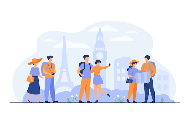 Happy couples traveling in europe and taking photo isolated flat vector illustration. cartoon group of people with backpack, camera and map. vacation and tourism concept Free Vector