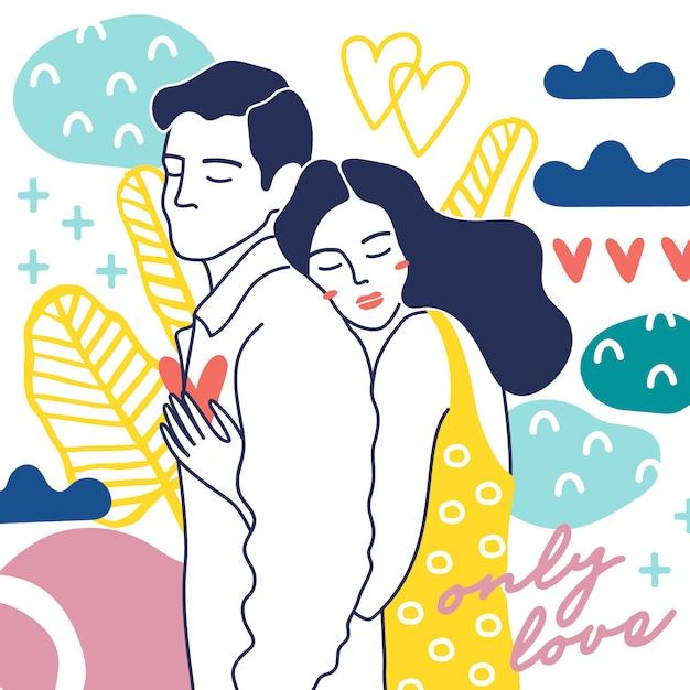 Happy couples. Premium Vector