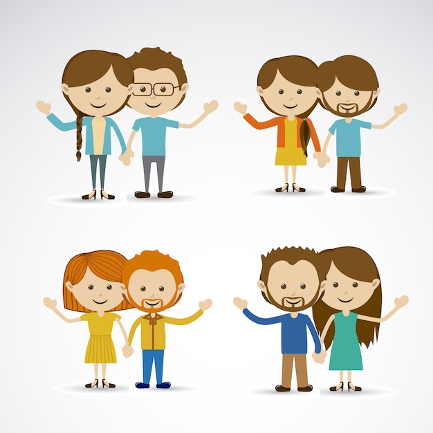 Happy couples Premium Vector