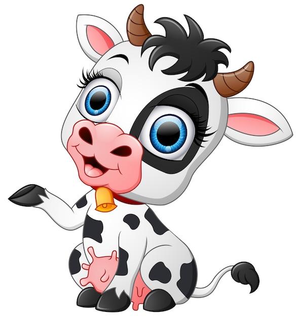 Happy cow cartoon presenting Vector | Premium Download
