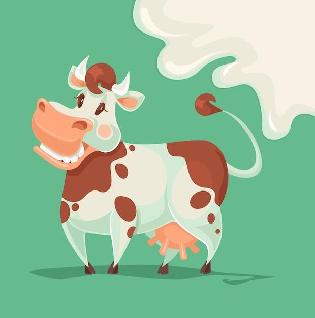 Happy cow character. Premium Vector