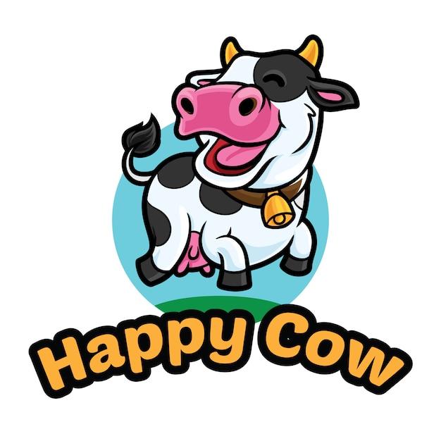 幸せな牛ロゴマスコットテンプレート Premiumベクター