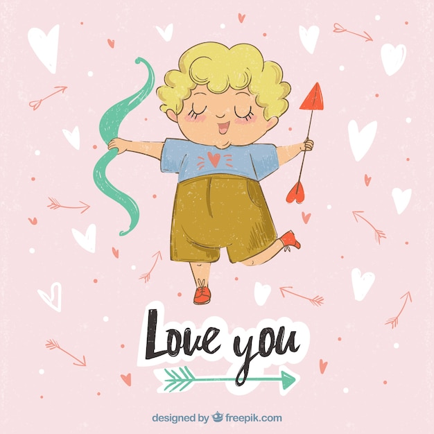Happy cupid character background with arrow and bow Free Vector