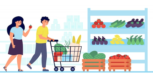 Happy customers buying food in grocery store Free Vector