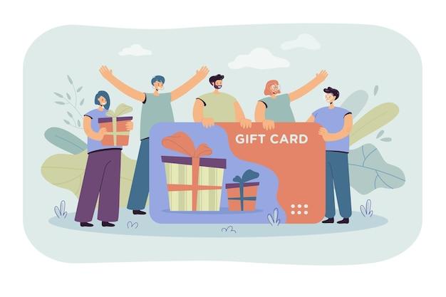 상점이나 상점에서 기프트 카드를받는 행복한 고객. 판매 시즌을 축하하는 바우처를 가진 소비자. 만화 그림 무료 벡터