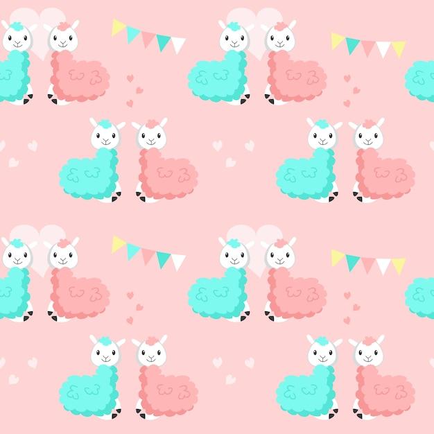 Happy cute alpaca couples vector seamless pattern Premium Vector