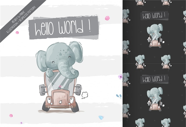 Happy cute baby elephant on bus seamless pattern Premium Vector