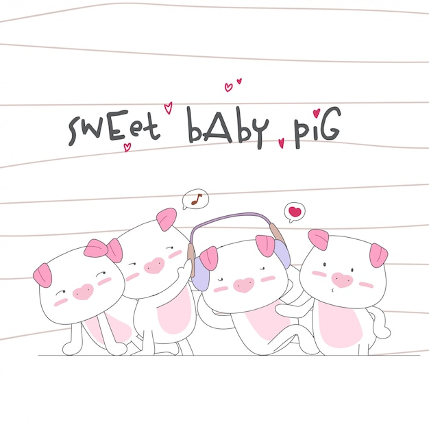 Happy cute baby pig family seamless pattern Premium Vector