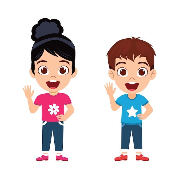Счастливые милые красивые детские мальчик и девочка, стоящие с веселым выражением лица и размахивающие и изолированные Premium векторы