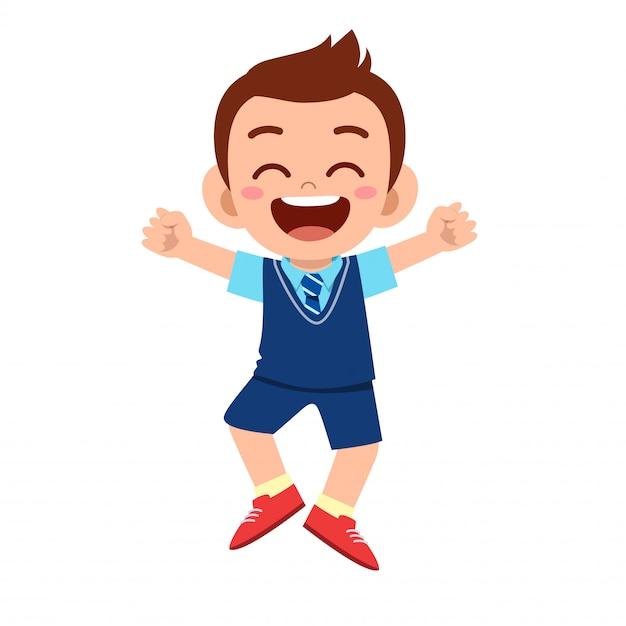 Happy cute boy ready to go to school Premium Vector