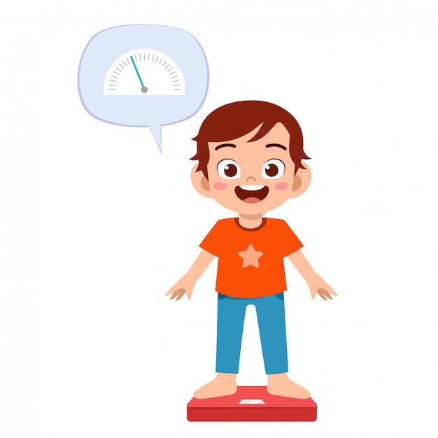 Happy cute boy use weight scale Premium Vector