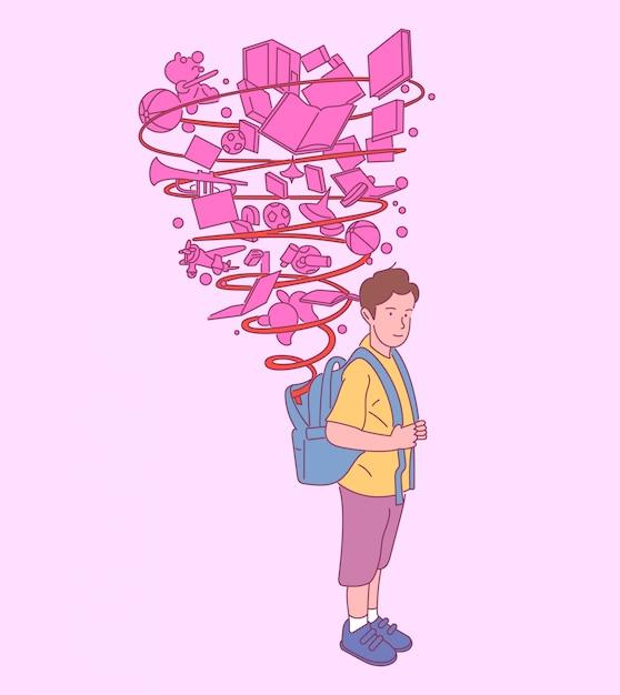 Счастливый милый мальчик с рюкзаком, готовым к школе, успешная подготовка к образованию. рисованной иллюстрации стиля. Premium векторы