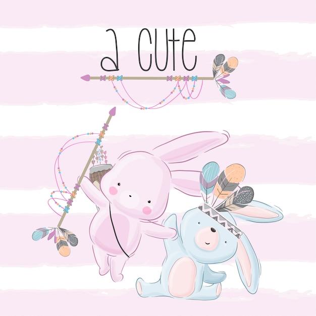 Happy cute bunny tribal cartoon Premium Vector