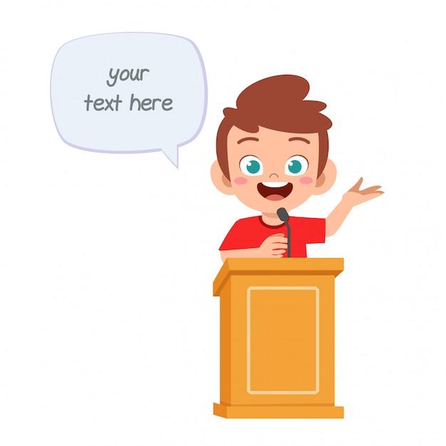 幸せなかわいい漫画の小さな子供男の子は表彰台で話す Premiumベクター