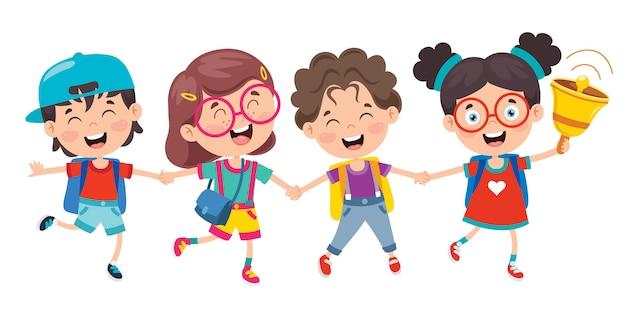 Premium Vector | Happy cute cartoon school children