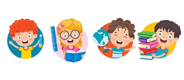Happy cute cartoon school children Premium Vector