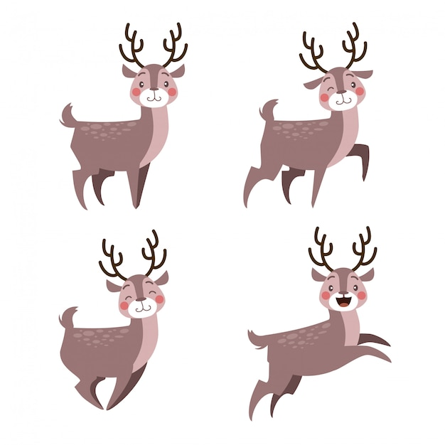 Happy cute christmas deer with many expression set Premium Vector