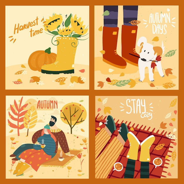 Happy cute couple on autumn background with leaves and trees, gumboots and pumpkin, cute dog in leaves, couple on plaid with mulled wine. illustration is for your card, poster, flyer. Premium Vector
