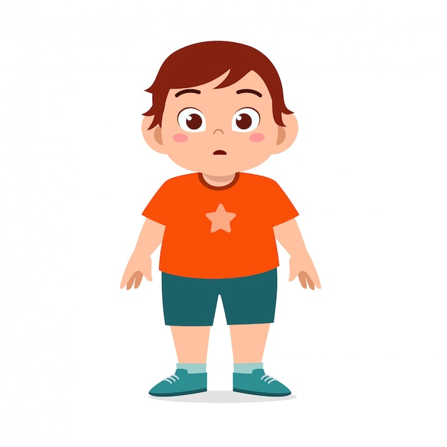Happy cute fat unhealthy kid boy standing Premium Vector