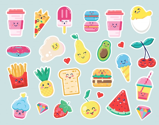 Happy cute food cartoon drink and fruit illustration for kids forest background with diamond and heart, pineapple. coffee, egg, strawberry. watermelon Premium Vector