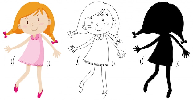 Happy cute girl with its outline and silhouette Free Vector