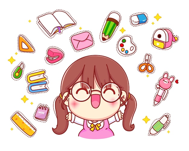 Happy cute girl with stationery logo cartoon character illustration Free Vector