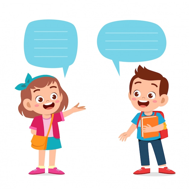 Счастливый милый парень мальчик и девочка диалог Premium векторы