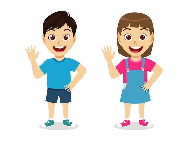 Счастливый милый ребенок мальчик и девочка говорят привет, улыбаясь вместе Premium векторы
