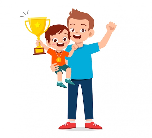 Happy cute kid boy become first winner Premium Vector