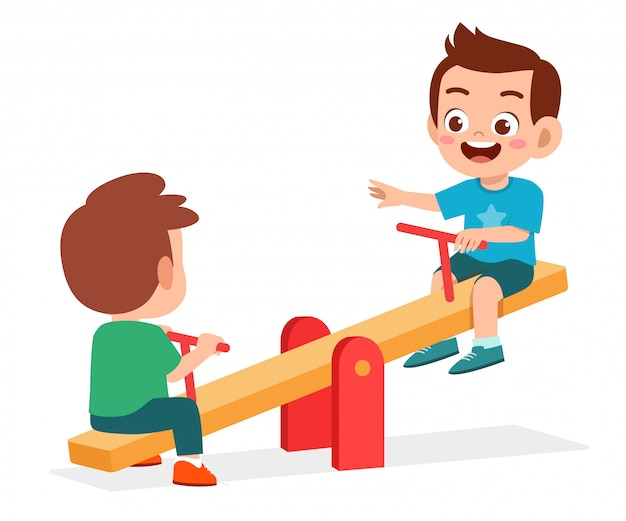 Happy cute kid boy and girl play seesaw together Premium Vector