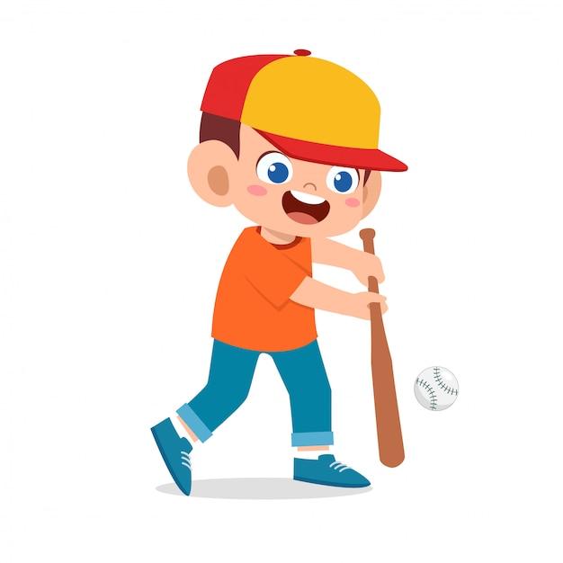 Счастливый милый мальчик малыш играет в бейсбол Premium векторы