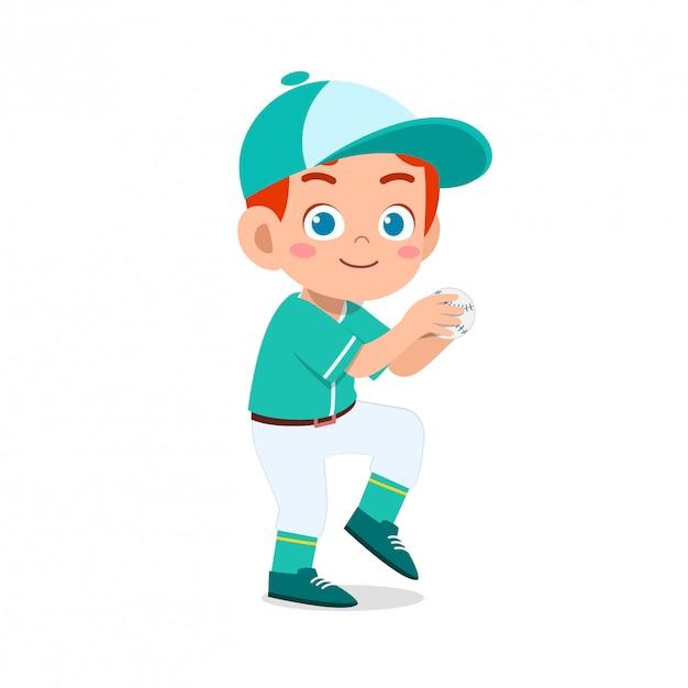 Счастливый милый малыш мальчик играет в бейсбол Premium векторы