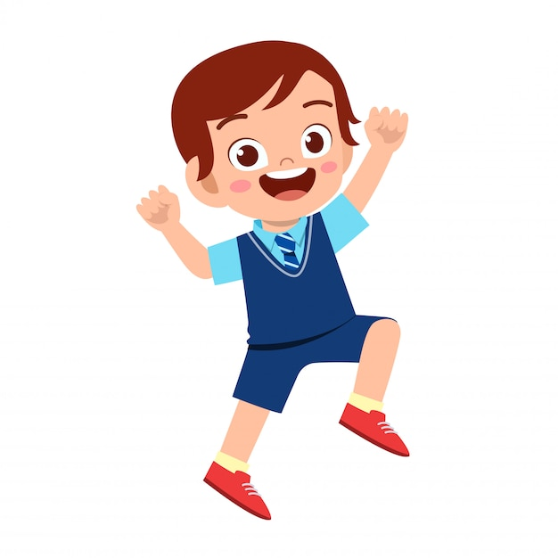 Happy cute kid boy ready to go to school Premium Vector