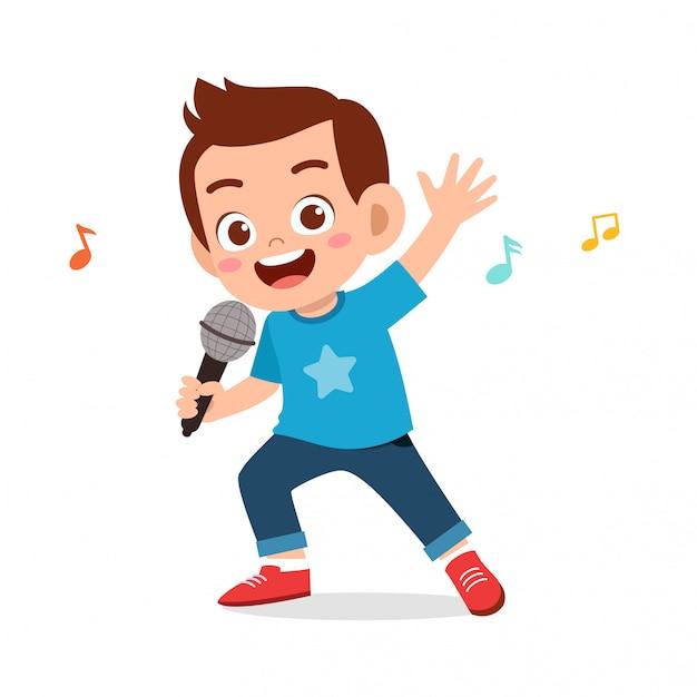 Счастливый милый малыш мальчик поет песню Premium векторы