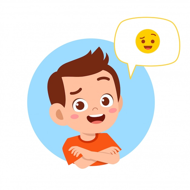 Happy cute kid boy with emoji expression Premium Vector